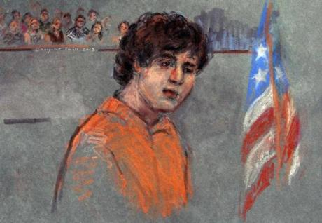 "Dzhokhar Tsarnaev entered ""not guilty"" pleas in a thick accent seven times to charges that include using a weapon of mass destruction."